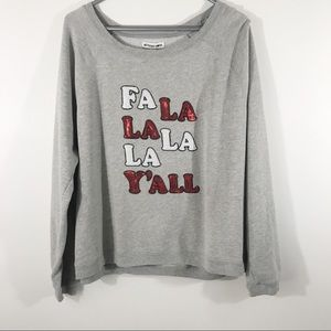 Holiday/Christmas Sequin Sweatshirt, Fa La La, XL